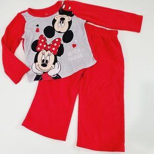 Disney Red Fleece Minnie Mouse Pajamas Size 2T